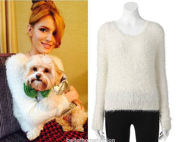 Bella THorne wears this Kohl's Candie's Sequin Eyelash Popover Sweater in an instagram post with her pup Kingston heading to the Candies office.