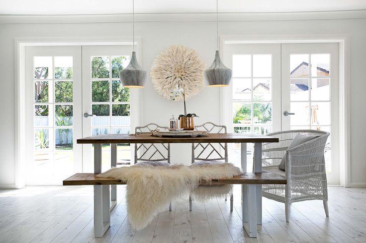 Hamptons style dining by three birds renovations. Divine!