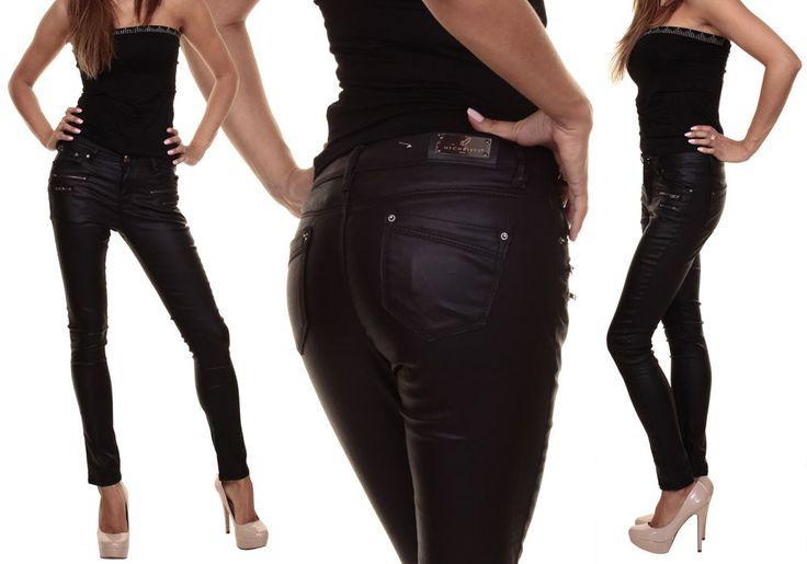 Hüfthose Röhre Lederimitat Lederoptik,Jeans mit Zipper,36,38,40,42,44