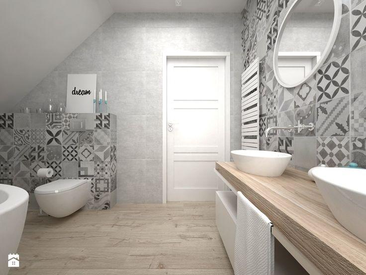 Projekt poddasza - Średnia łazienka na poddaszu, styl skandynawski - zdjęcie od BIG IDEA studio projektowe - homebook