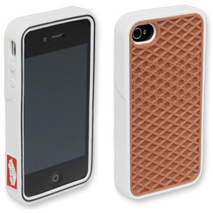 The new flexible rubber Vans Phone Case features a waffle sole replica on the back, red heel-tag replica on the side, toe-cap replica on the top, and Vans logo on the inside front. Compatible with iPhone 4 and 4S.