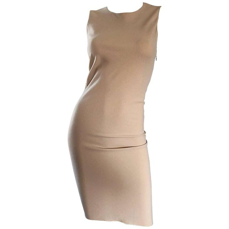 Rifat Ozbek 1990s Vintage Taupe Beige Virgin Wool Vintage 90s Hi Lo Sheath Dress 1