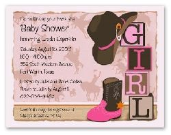 Western Cowgirl Baby Shower Invitations - pink and brown, personalized