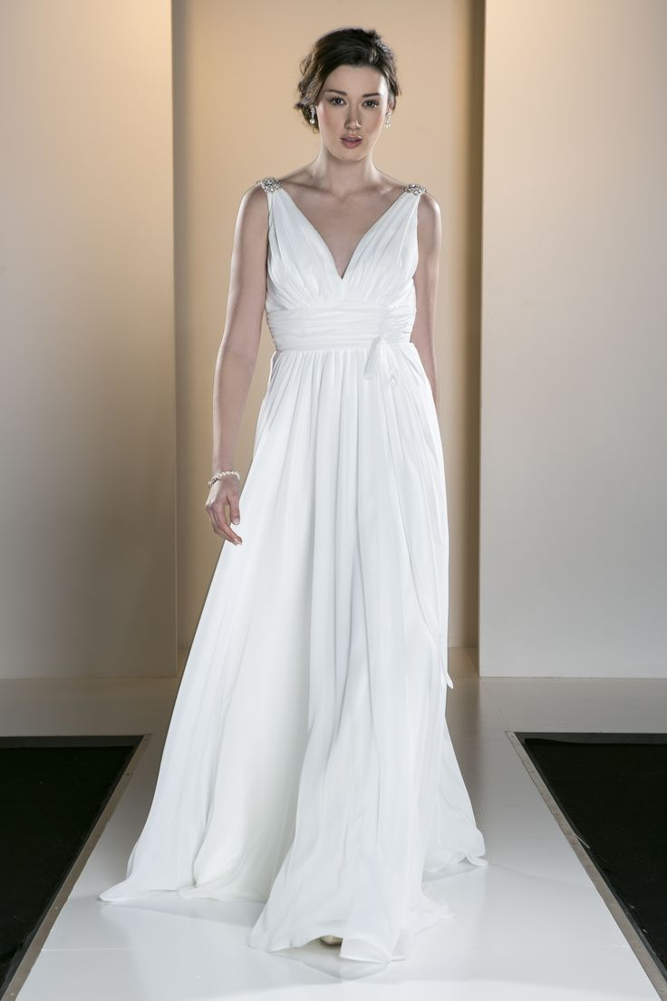 OCA 551T 'Harper' A deep V-neck softly draped Grecian style gown in a lightweight satin and chiffon.