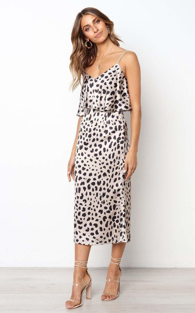 78c4fcd7ec6f1 Animal Leopard Print Layered Satin Slip Midi Dress   URBAN TOUCH   SilkFred