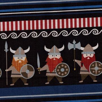 Vikinger, blå/svart/stripet