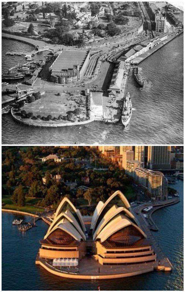 Bennelong Point 1952 - 2015. [Fairfax/Getty images & Destination NSW by Kevin Sundgren]