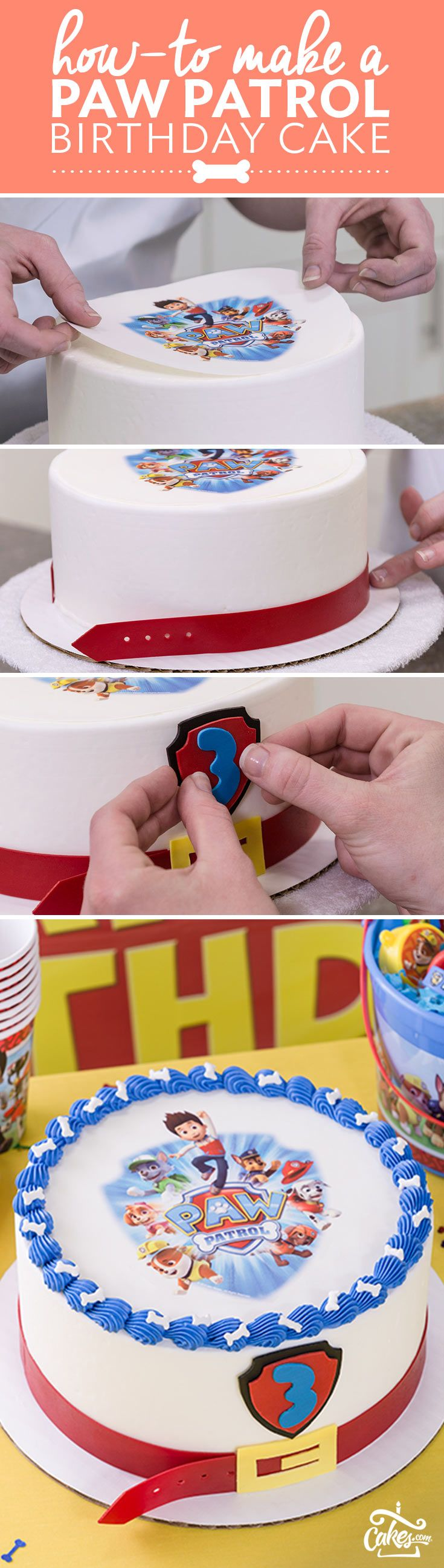 Learn how to make a PAW Patrol birthday party cake by following a step-by-step cake decorating tutorial. #pawpatrol #preschoolbirthday