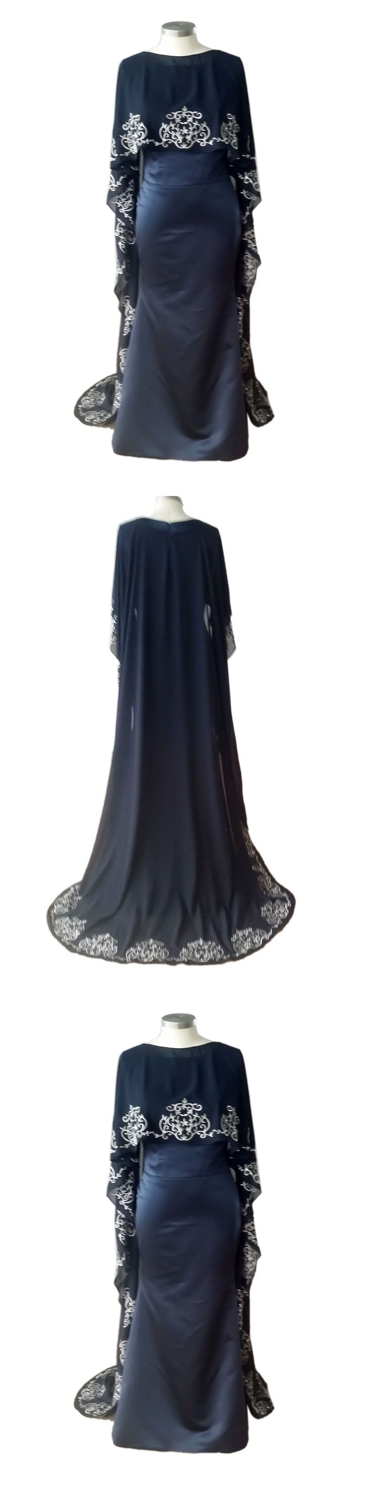 Real Photo New Design Navy blue Chiffon Shawl Embroidery  Evening Dress Prom Gown