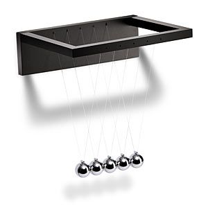 With the Newton's Cradle Fridge Magnet your refrigerator can demonstrate the laws of conservation of mass and energy each time you open and close the door.