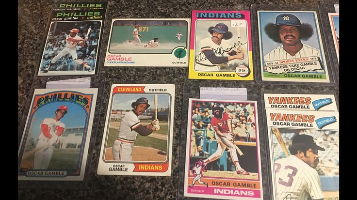 Meant to post this yesterday but here it is today....all of my #OscarGamble cards....only missing his 1970 rookie and a handful of early 80s cards..gonna work on that asap...was lookin at his stats and didnt realize he was traded 6 times...crazy..RIP #baseballcards #cubs #phillies #indians #yankees #padres #whitesox