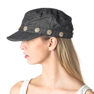 I love hats! Vintage Button Cadet Hat Denim