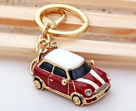 Red Mini Car Drop Of Oil Plus Diamond Luxury Car Keychain Keychain