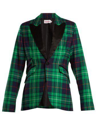 Pammy tartan contrast-lapel blazer