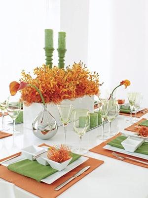 Spiky orange centerpiece