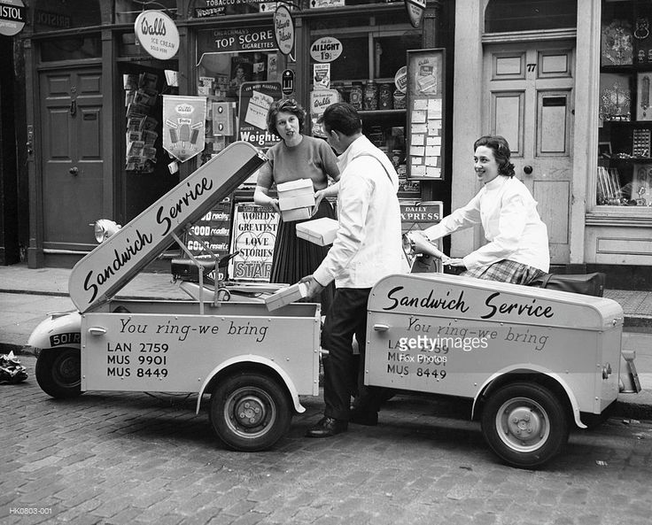 A sandwich delivery service in London. 1950s