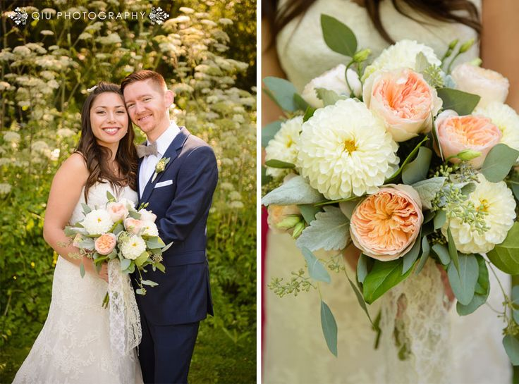 aFree style Bridal Bouquet with Peach Garden Roses and Ivory Dahlias, Lots of Lush Greenery