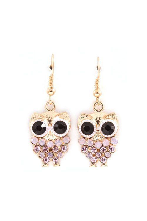 Owly Earrings in Aspen Crystal on Emma Stine Limited