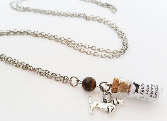 Personalised Daschund charm necklace. Silver daschund by totesBOHO