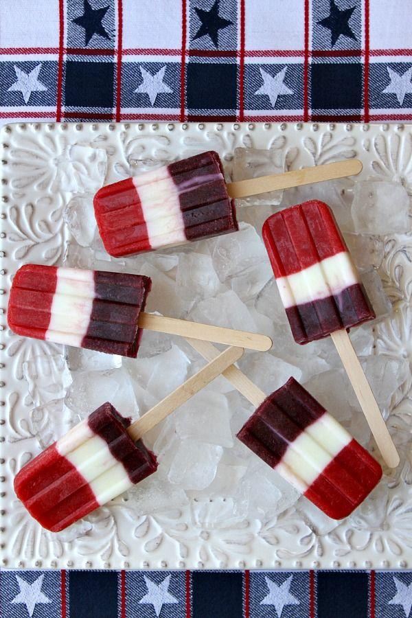 Red, White and Blueberry Popsicles #4thofjuly #fourthofjuly #recipe