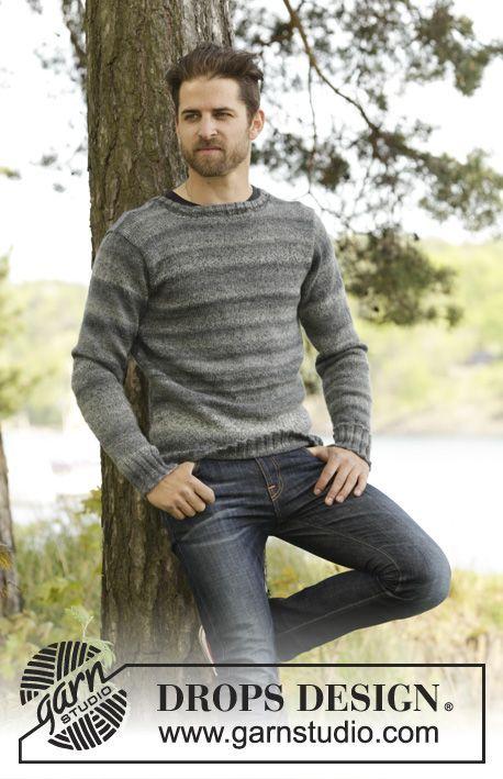 Moorland Jumper / DROPS 174-9 - Pánský pulovr se vsazovanými rukávy pletený z příze DROPS Fabel a Delight. Velikost: S-XXXL.