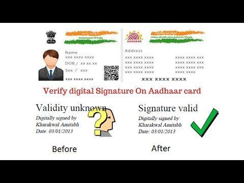 How to Verify digital Signature On Aadhaar card - YouTube