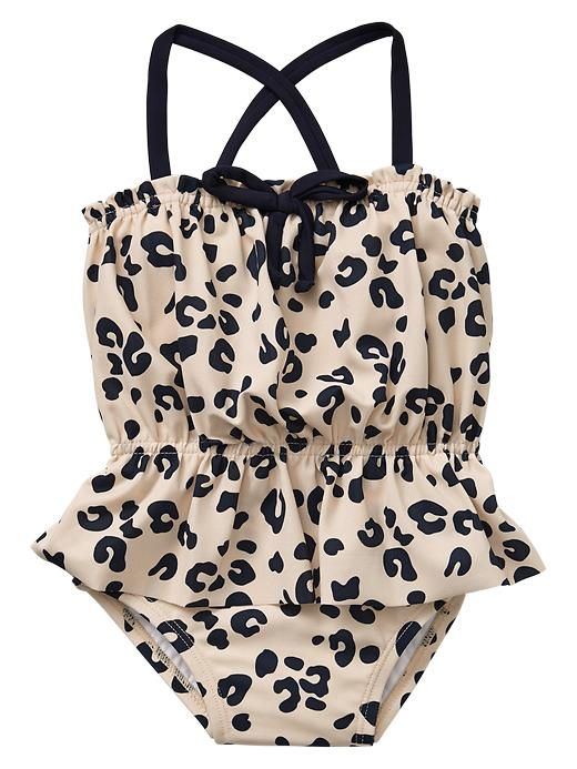 Leopard peplum one-piece for little girls.