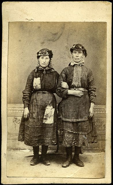 Female worker/s from the Tredegar ironworks in ragged clothing with protective headwear and tools, by W Clayton of Tredegar, Wales, 1865.   Flickr - Photo Sharing!