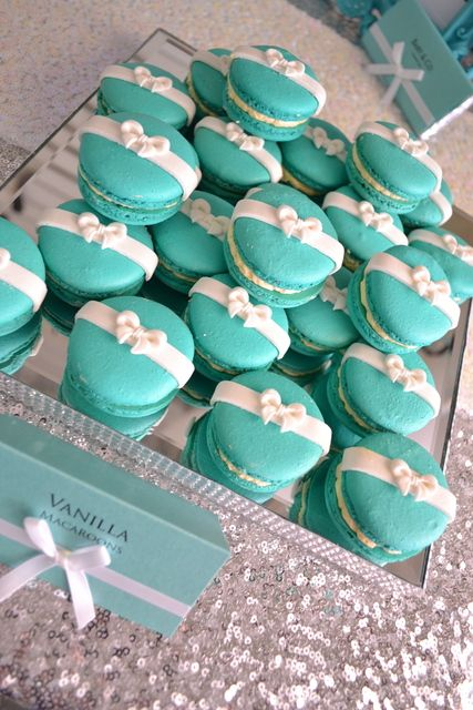 Gorgeous macarons at a TIFFANY & CO Baby Shower! See more party ideas at CatchMyParty.com!