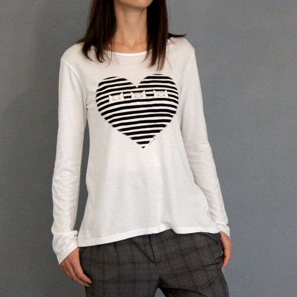 """Magliette a manica lunga - T-SHIRT MANICA LUNGA STAMPA """"MIAO RIGHE"""" - BIANCA - un prodotto unico di Tyche-abbigliamento su DaWanda"""