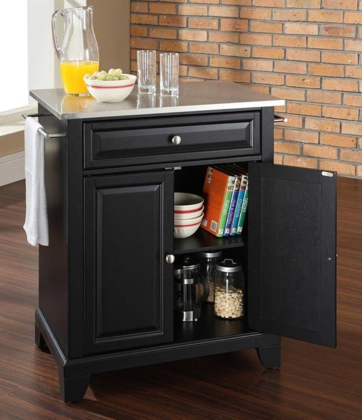kitchen interior brick wall idea plus wood flooring with awesome black portable kitchen island