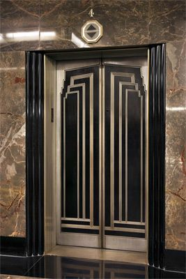 Art Deco Front Doors Lobby Elevators Depict The