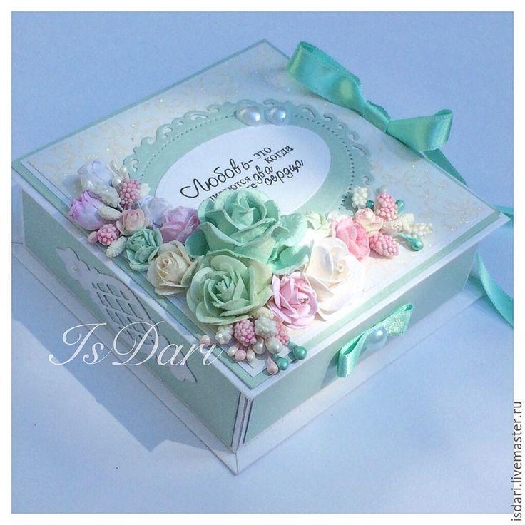 """Купить Коробочка для денежного подарка """"Мятная нежность"""" - коробочка для денег, подарок на свадьбу, на свадьбу, свадьба"""