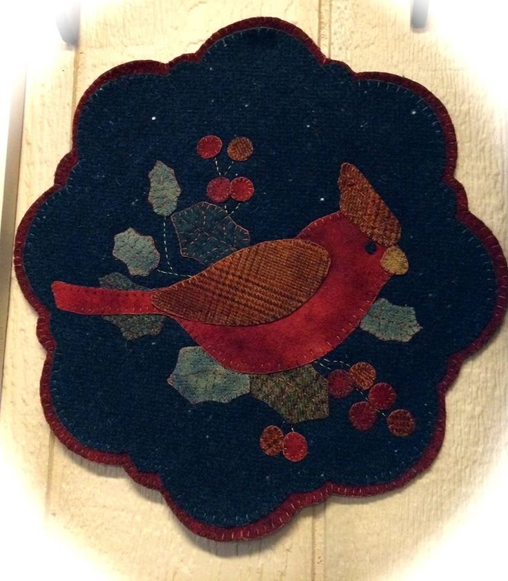 pattern is Winter Cardinal by Lake View Primitives, made by Red House Wool Studio in Rice Lake, WI