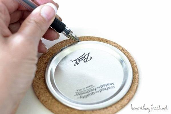DIY Mason Jar Lid Coasters - Beneath My Heart