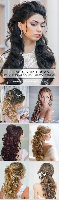 Are you thinking about a half up/half down, braids, wavy or a celebrity-inspired wedding hairstyles for your big day? These elegant curly half up/half down hair