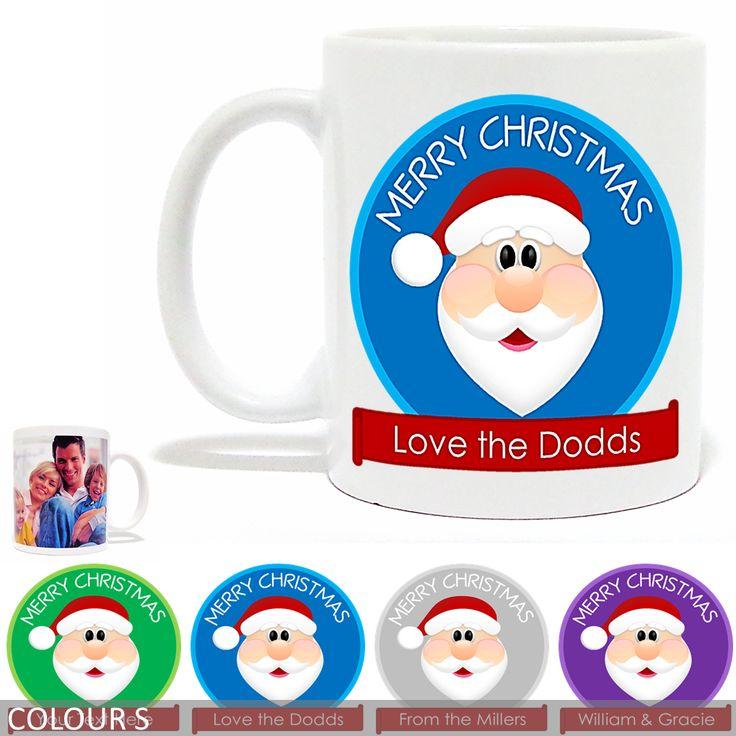 Personalised Christmas Photo Mug - Merry Christmas Santa - Banner