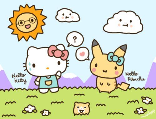 Hello Kitty & Hello Pikachu PERFECT!!!!!!!!!!!!!!!!! MY P.I.C. AND MEEEE!!! ^_^