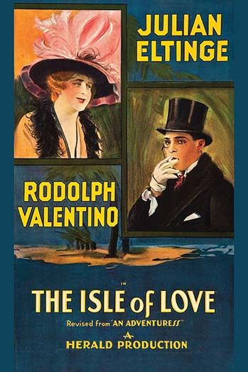 Rudolph Valentino in inset with a beautiful actress