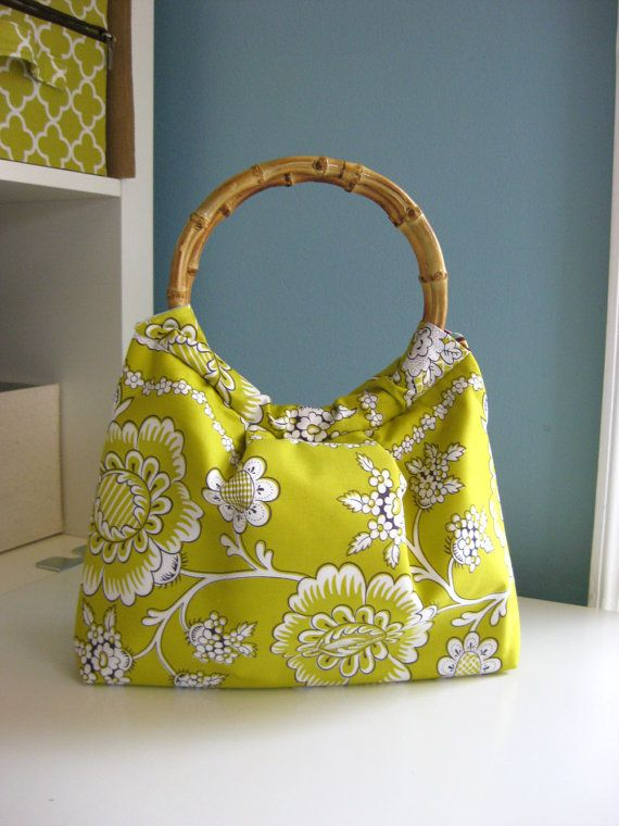 Bamboo Handle Bag, Yellow Floral, Small Purse - Customize Your Fabric