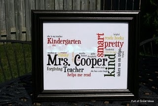 Great teacher gift, ask kids to describe her