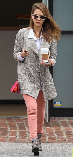 Jessica Alba wore peach jeans and a Joe's jacket while out in Los Angeles.