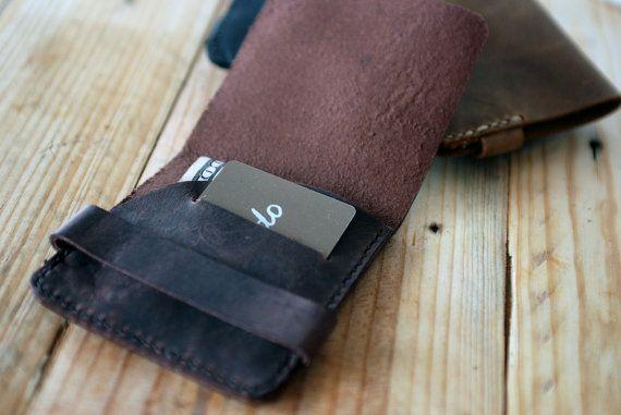 Simple wallet Dark brown leather wallet by JustWanderlustShop