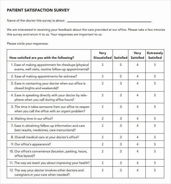 Patient Survey Form Best Of Patient Satisfaction Survey 9 Download