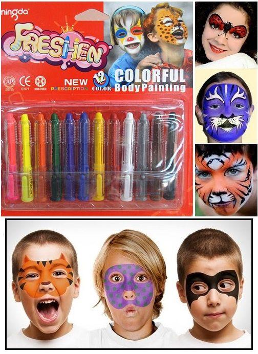 Tizenkét részes arcfesték készlet. Gyerekeknek kiváló szórakozás, felnőtteknek különleges smink különleges alkalmakra! Lehetsz cica, pillangó,...