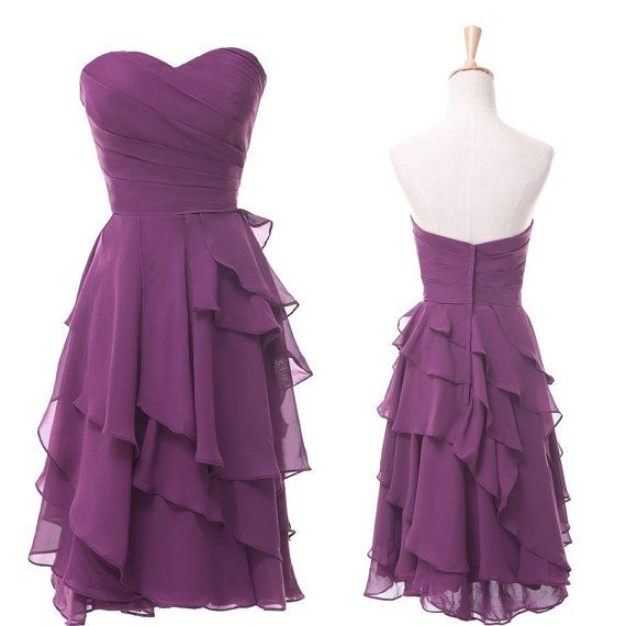 Aline Knee length Chiffon Bridesmaid  Prom  by LovingDresses, $75.00