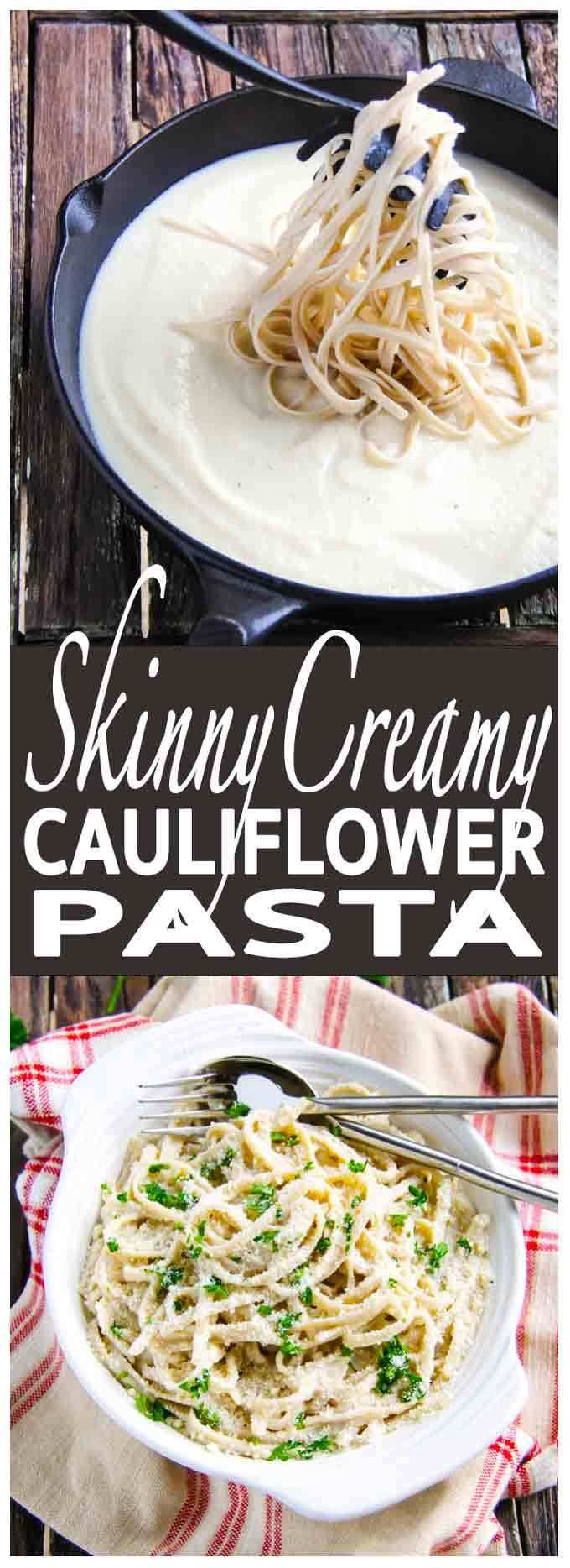 Healthy, Skinny Creamy Cauliflower Pasta is a delicious, comfort food at its best - easy, diverse gluten free, vegan sauce for pasta or rice.