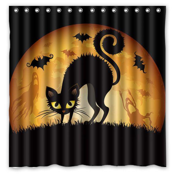 Frete grátis! Hot desenhos animados do gato preto impresso poliéster impermeável cortina de chuveiro ( 180 X 180 CM ) em Cortinas de banheiro de Home & Garden no AliExpress.com   Alibaba Group
