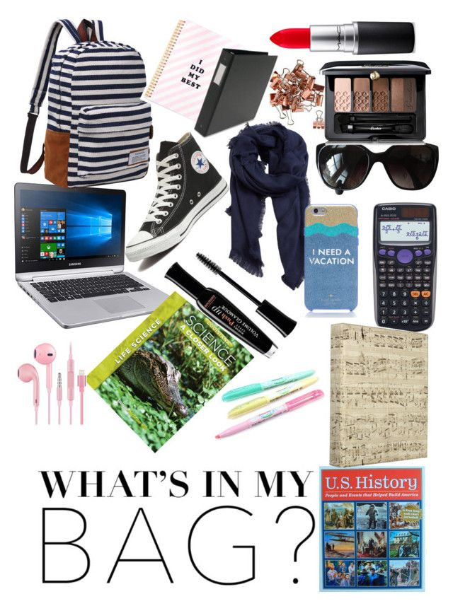 """""""Back to school What Is In My Bag"""" by fashionfriend41 ❤ liked on Polyvore featuring Casio, Converse, Chanel, MANGO, Guerlain, MAC Cosmetics, Kate Spade, Bourjois, backpack and inmybackpack"""