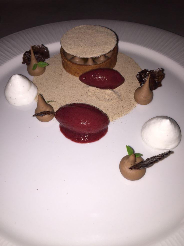 Chestnut mini cake with cherry ice-cream at Salon restaurant, Boscolo Hotel, Budapest